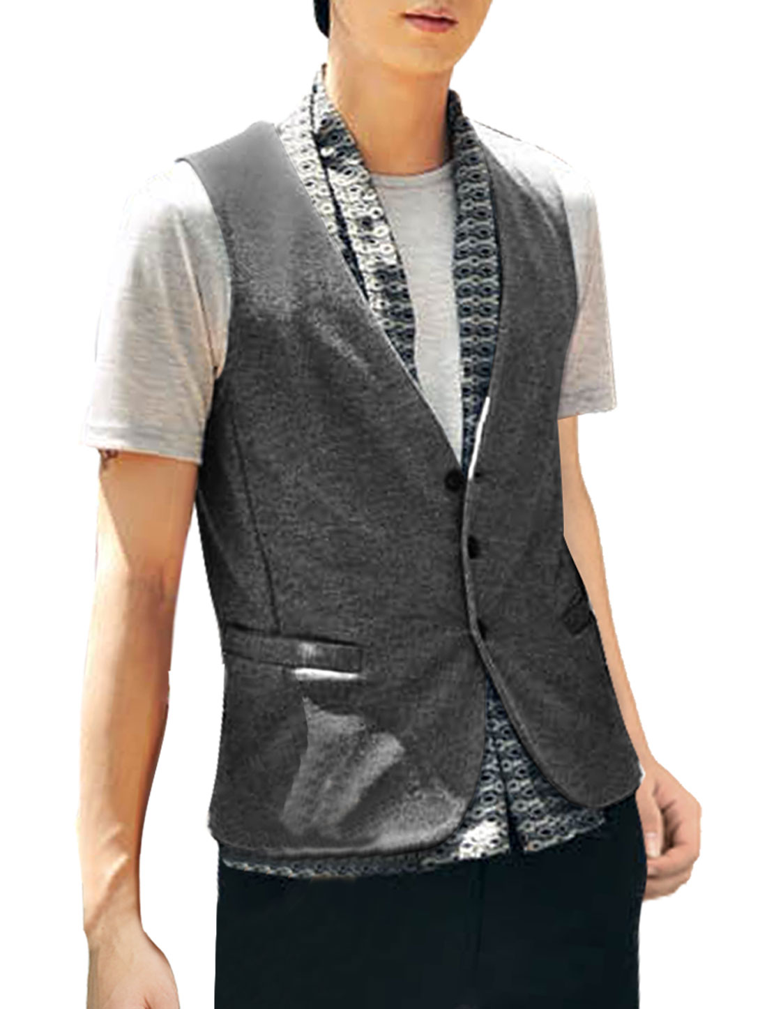 Men Dark Gray Button Closure Solid Color Simple Design Casual Vest M