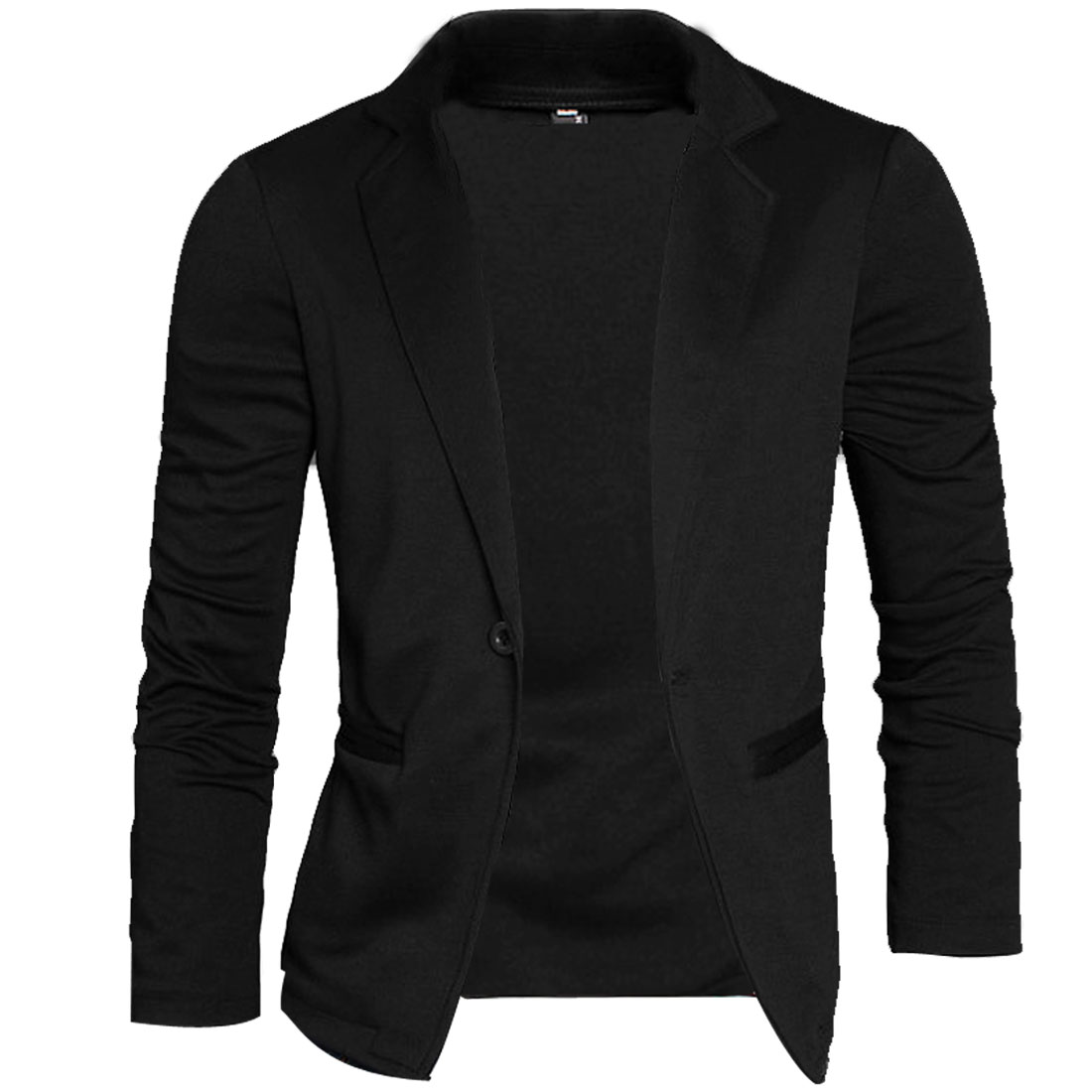 Mens Black Peaked Lapel Long Sleeve Stretchy Pockets Front Casual Blazer M