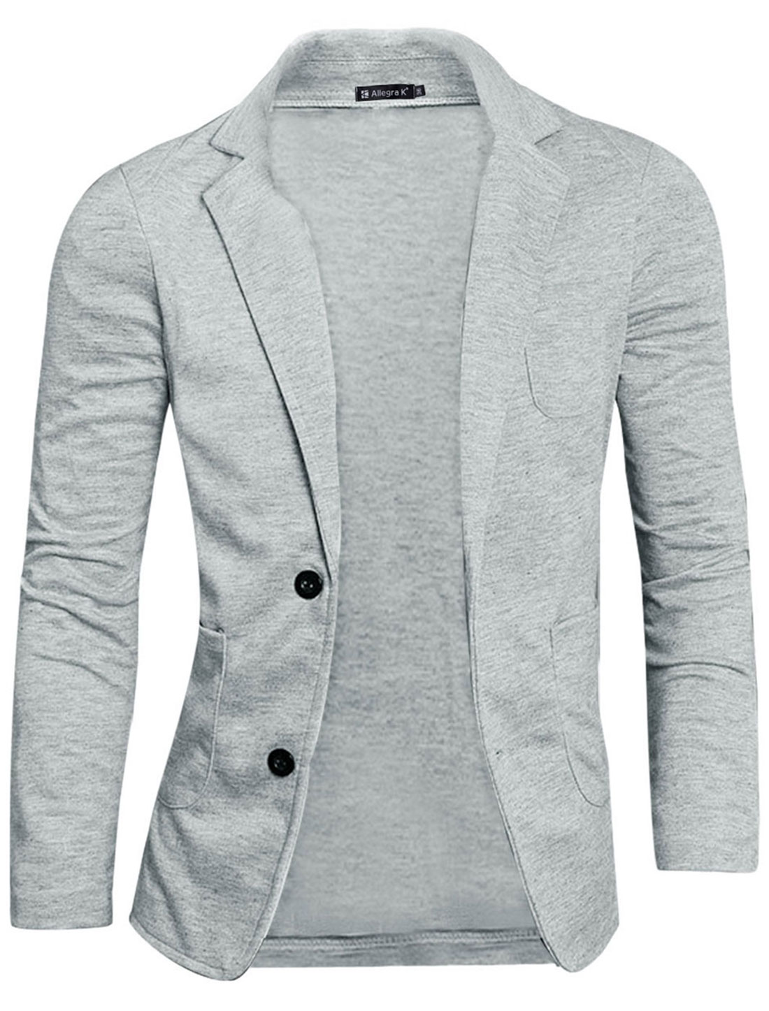 Mens Gray Fashion Simple Design Two Pockets Front Two Buttons Long Sleeve Blazer M