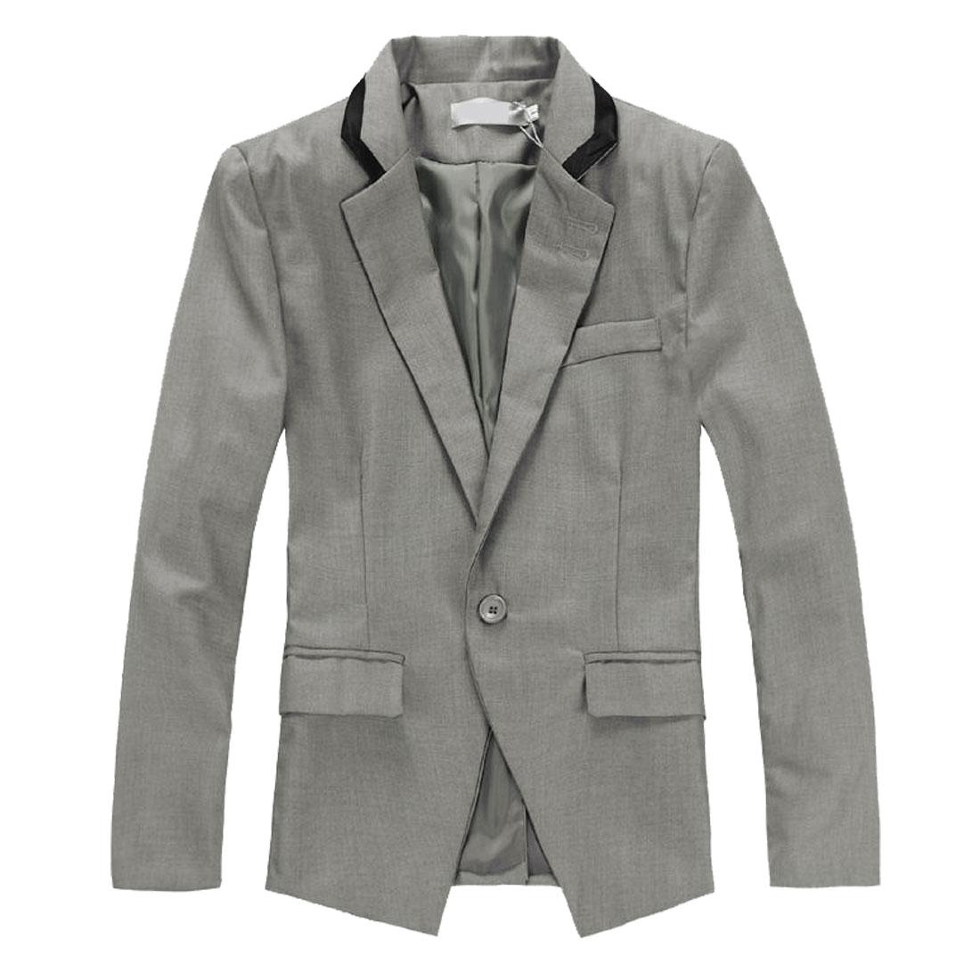 Mens Gray Trendy Padded Shoulder Single Button Closure Patch Pockets Blazer M
