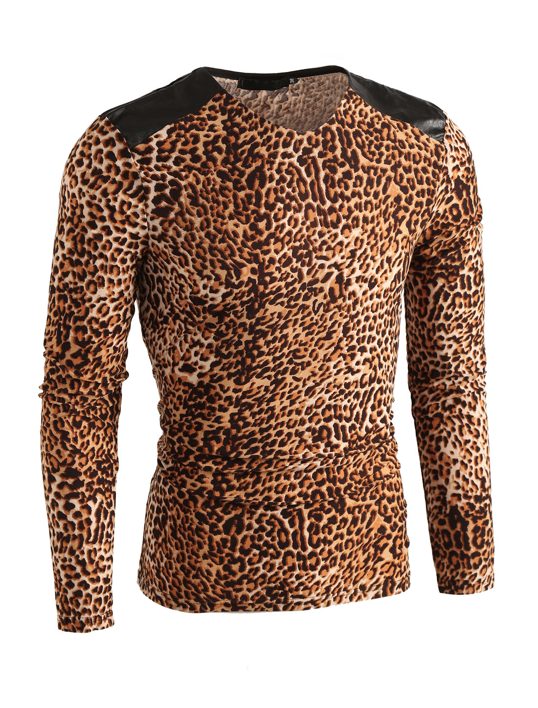 Mens Beige Brown V Neck Long Sleeve Leopard Prints Splice Tee Shirt S