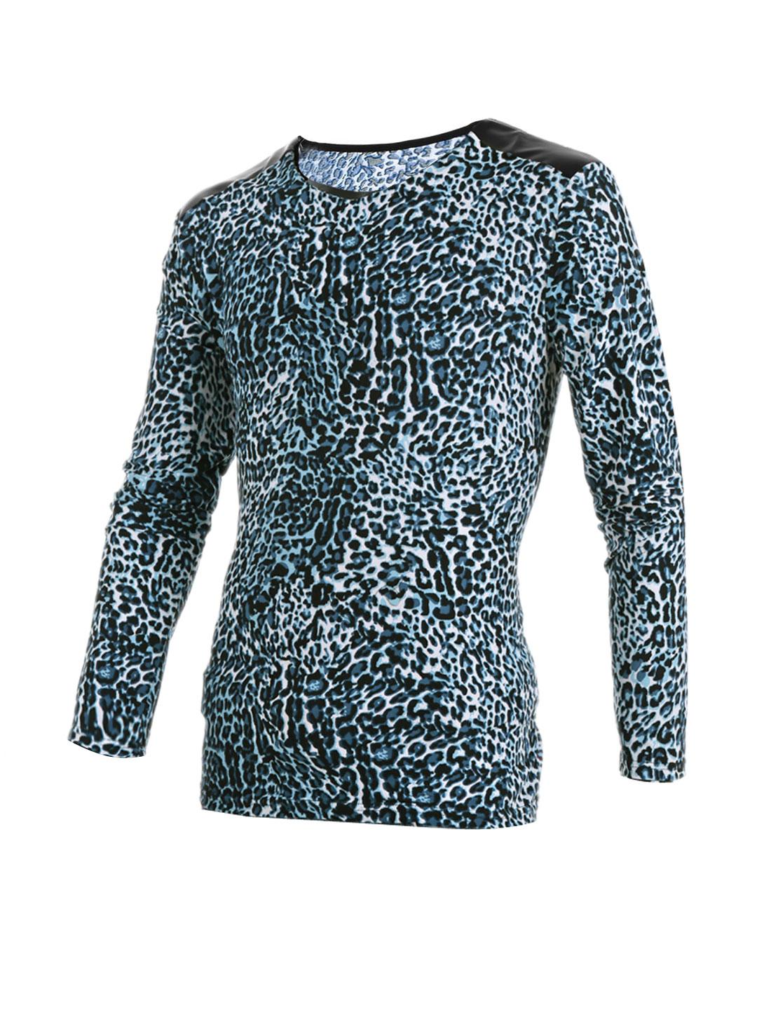 Mens White Blue Leopard Prints Faux Leather Shoulder Patchwork Top Shirt XS