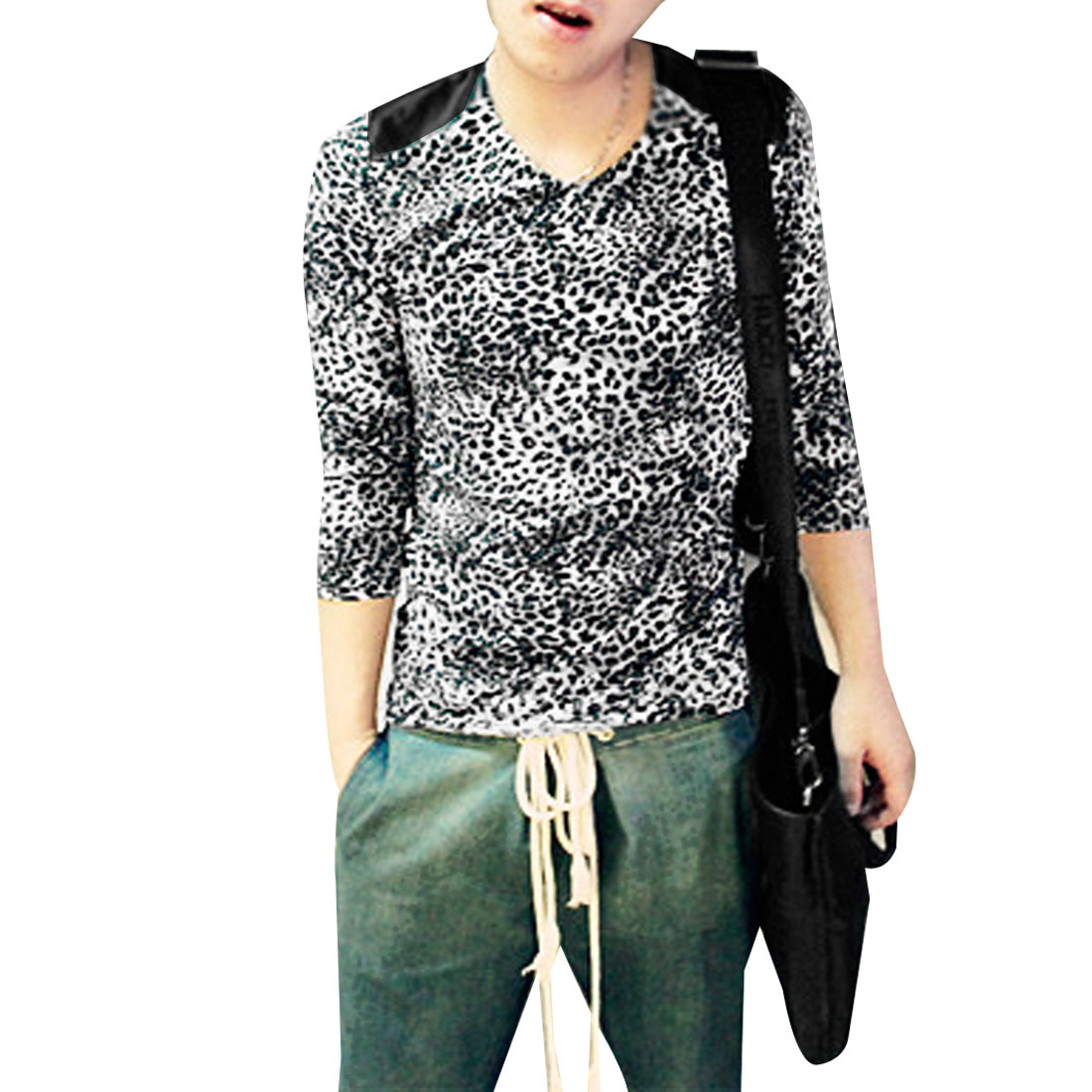 Mens White Black Gray Long Sleeve Splice Shoulder Leopard Prints Casual Tee Shirt XS
