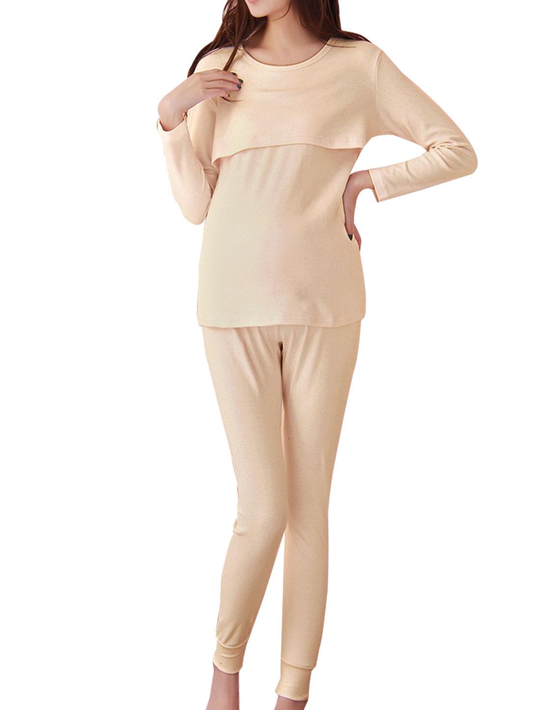 Motherhood Beige Long Sleeve Solid Color Top Shirt w Elastic Waist Pants Trousers S