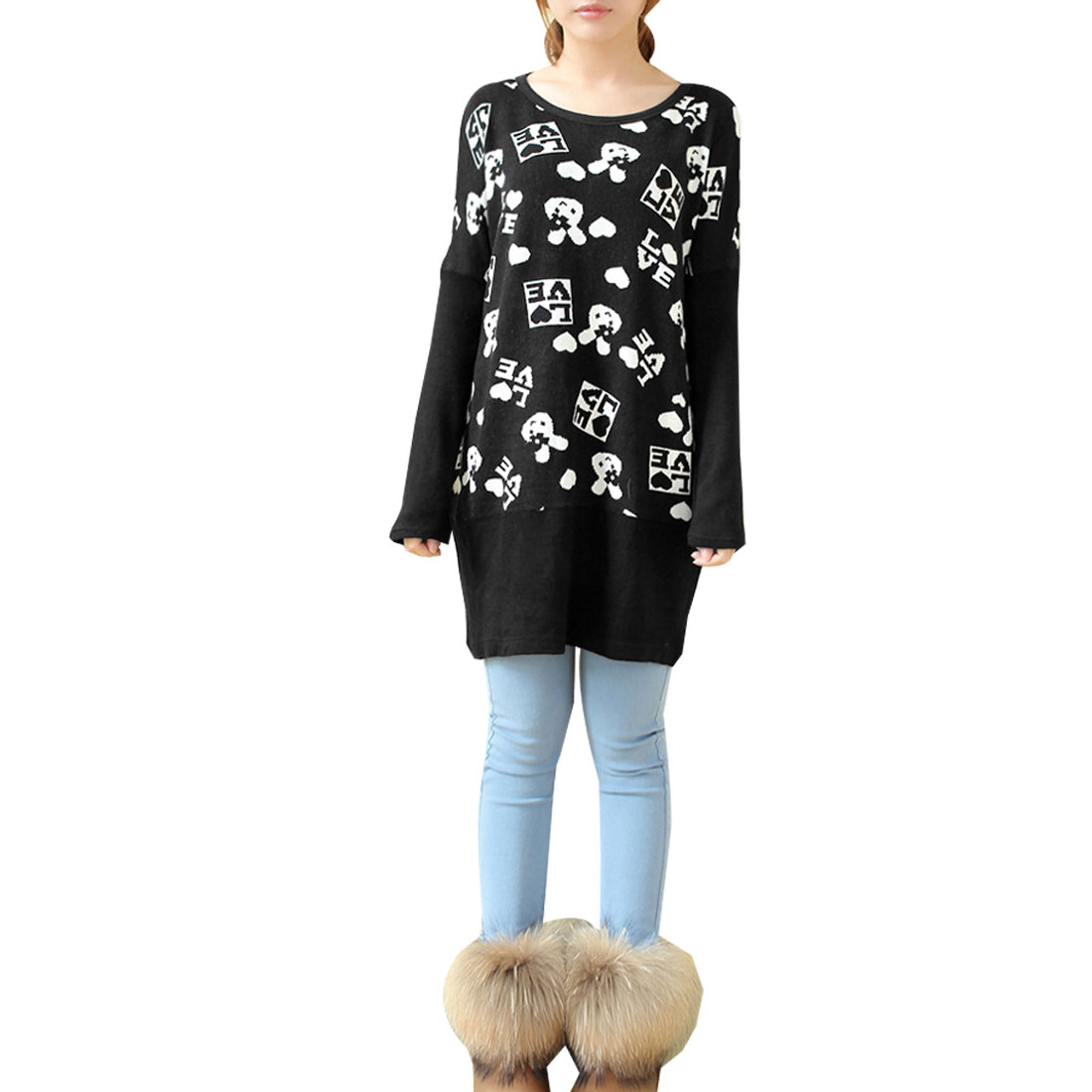 Maternity Long Sleeves Scoop Neck Cartoon Pattern Stretchy Black Sweater S
