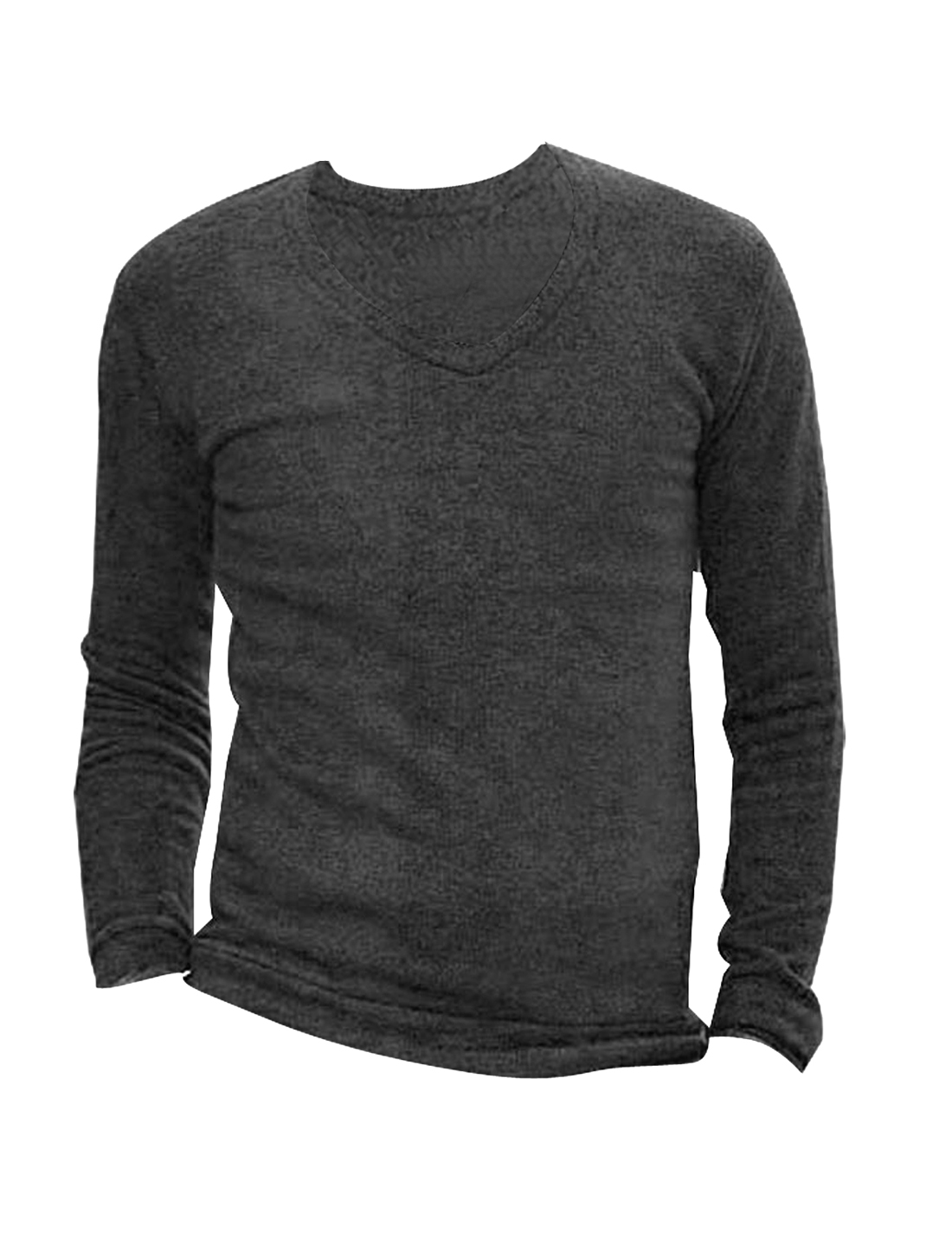 Mens Dark Gray Stylish Long Sleeve Stretchy Pure Color Slim Sweater S