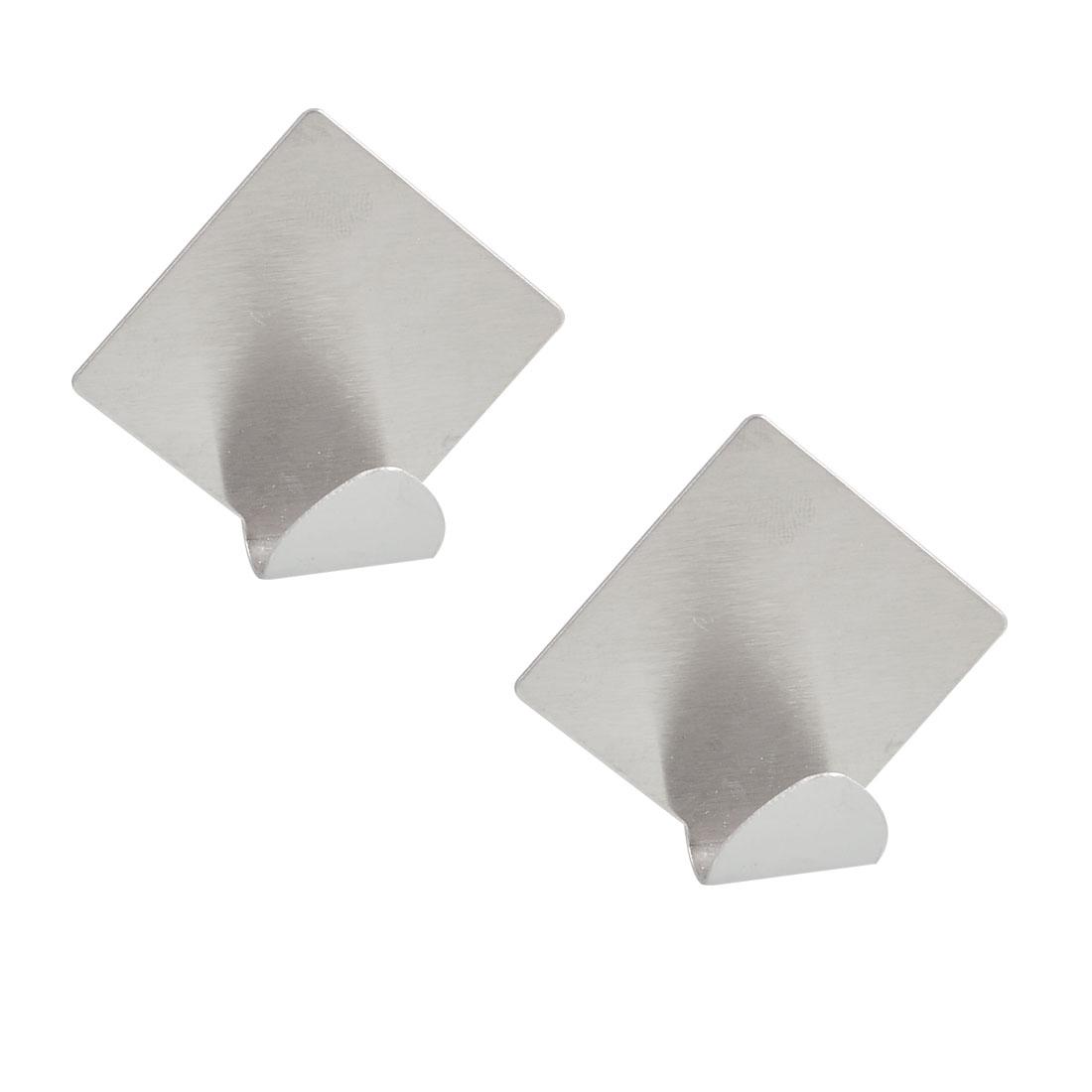 Bathroom Stainless Steel Rhombus Style Sticky Wall Hooks Pair