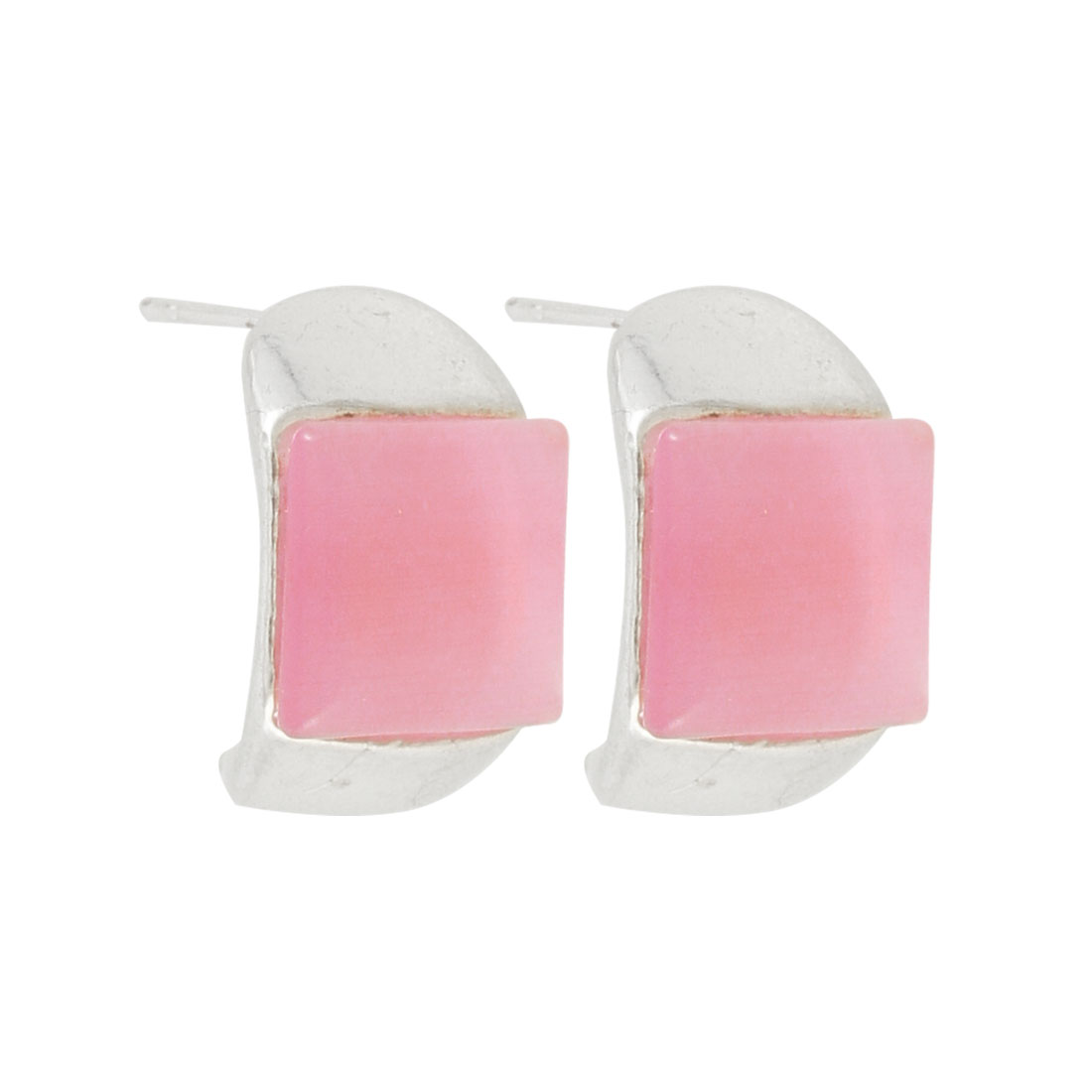 2 Pcs Pink Rectangle Ear Stud Earrings Eardrop for Woman