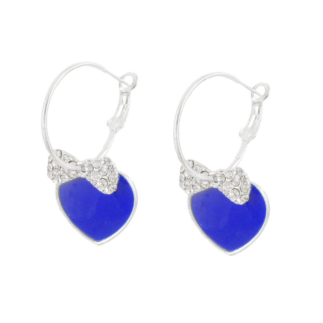 Lady Rhinestone Decor Blue Heart Shape Hoop Earrings Pair