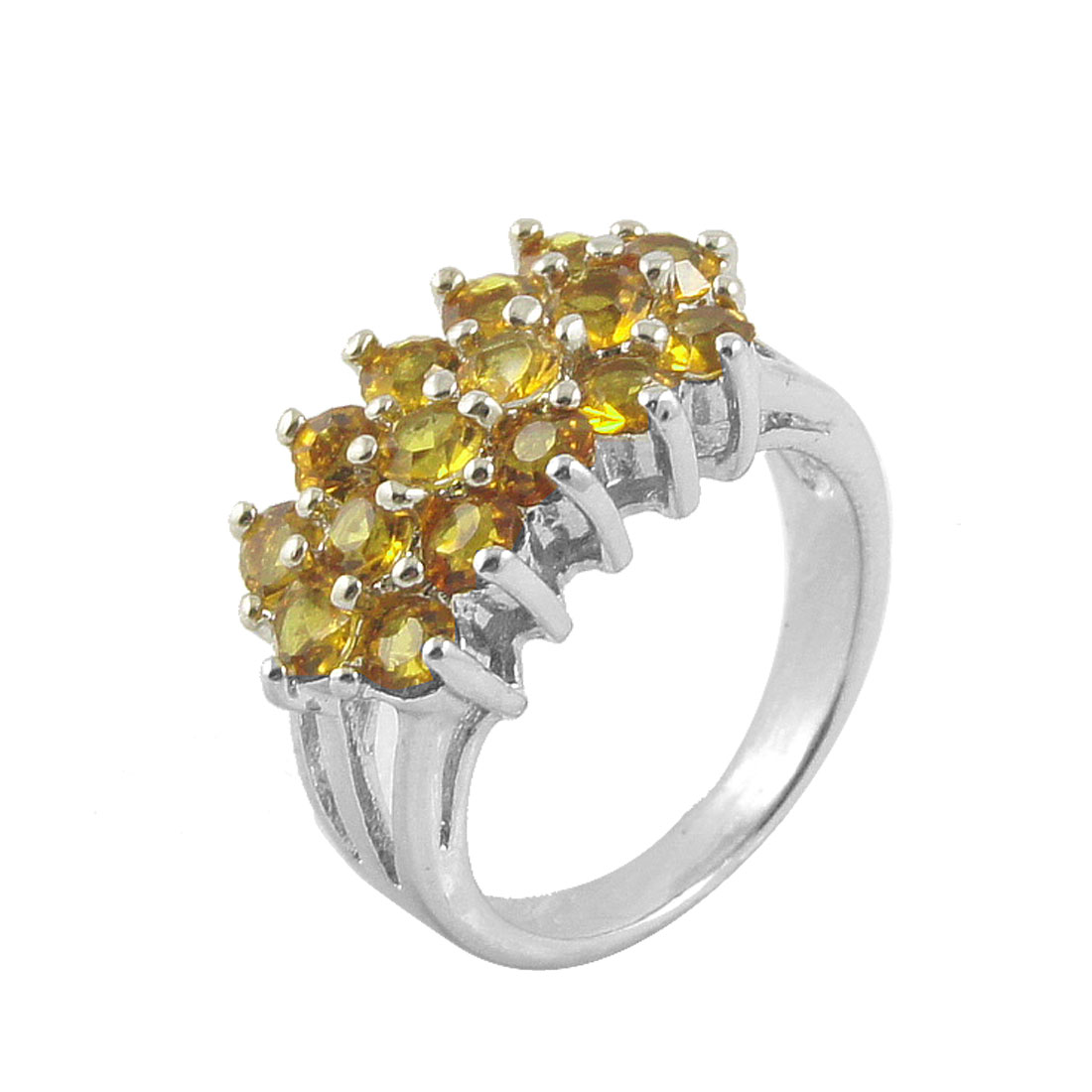 Ladies Yellow Glittery Rhinestone Detail Silver Tone Finger Ring US 4 3/4