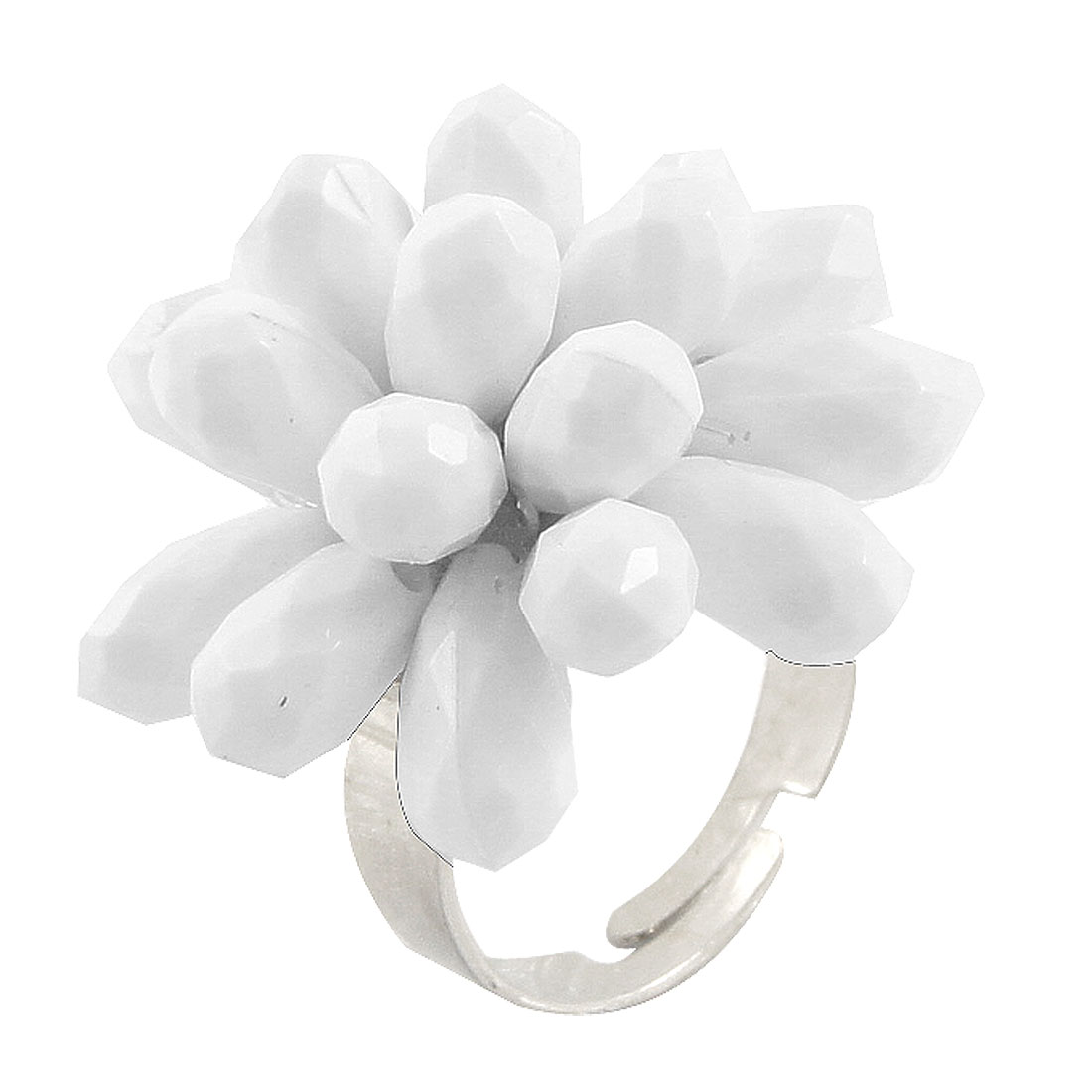 Lady Faceted White Plastic Beads Accent Finger Ring US 7 3/4