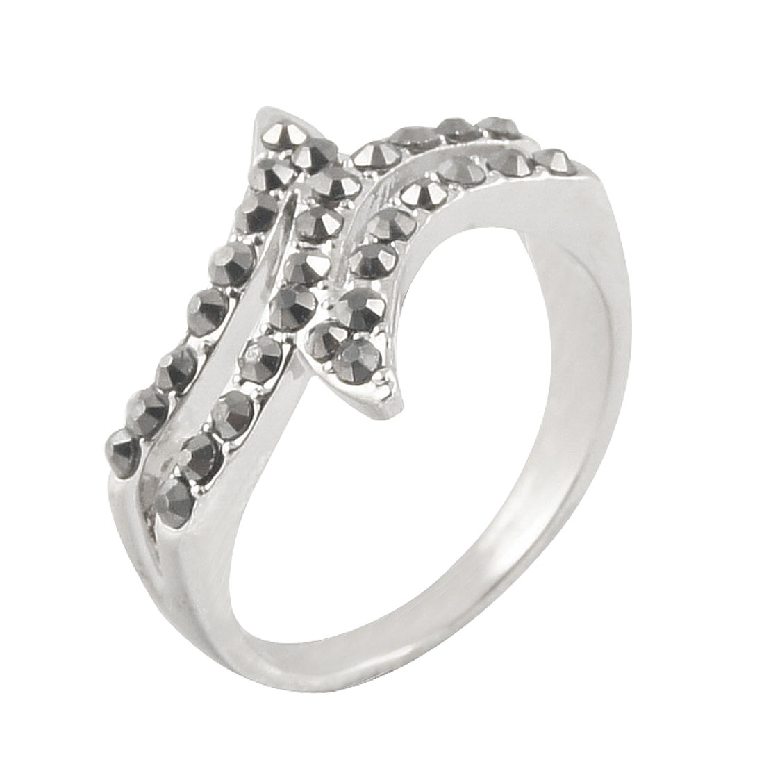 Gray Rhinestone Detail Silver Tone Finger Ring US 7 3/4 for Lady
