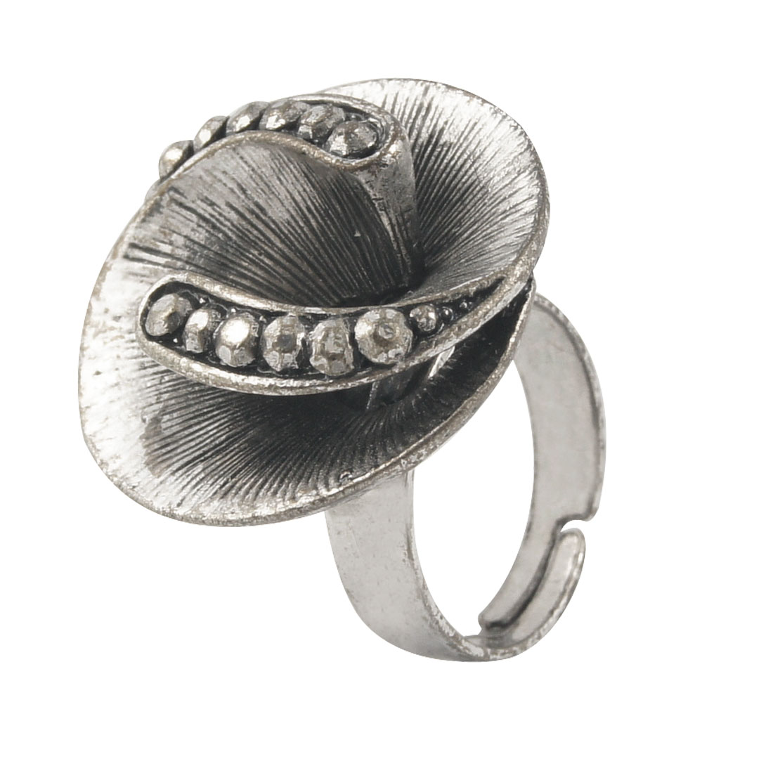 Gray Big Flower Rhinestone Accent Finger Ring US 7 for Lady