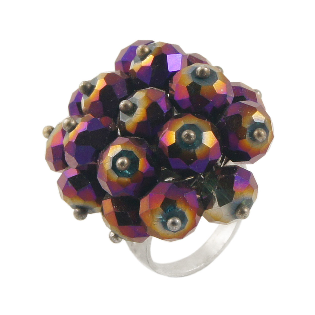 Lady Glitter Faceted Purple Round Crystal Accent Finger Ring US 6 1/4