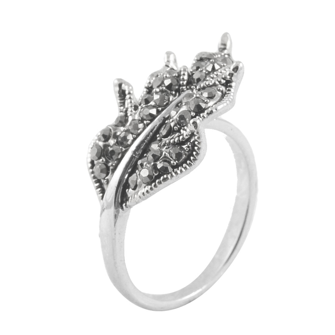 Gray Rhinestone Leaf Detail Silver Tone Finger Ring US 6 1/4 for Lady