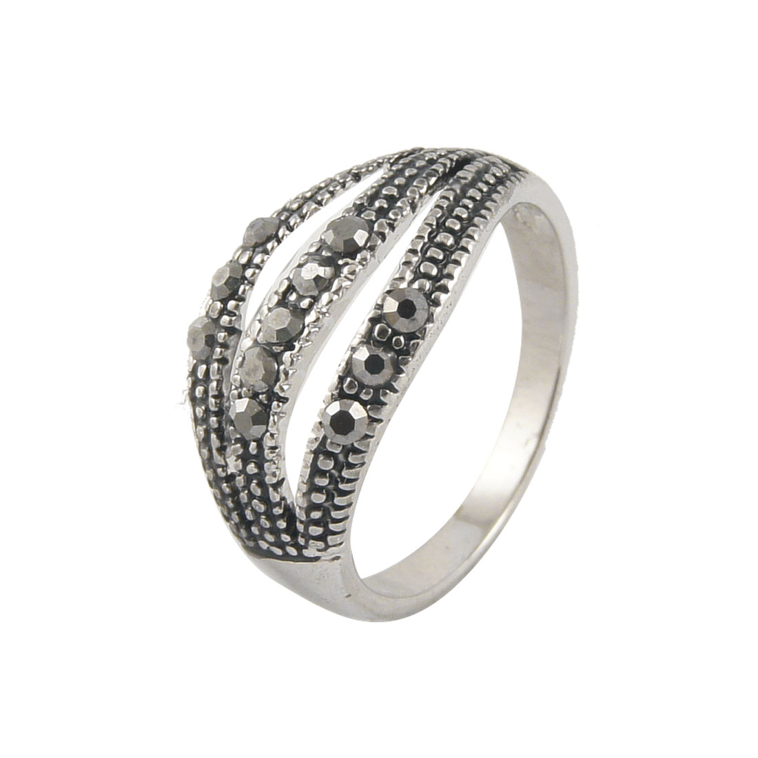 Gray Rhinestone Detail Silver Tone Finger Ring US 5 for Lady