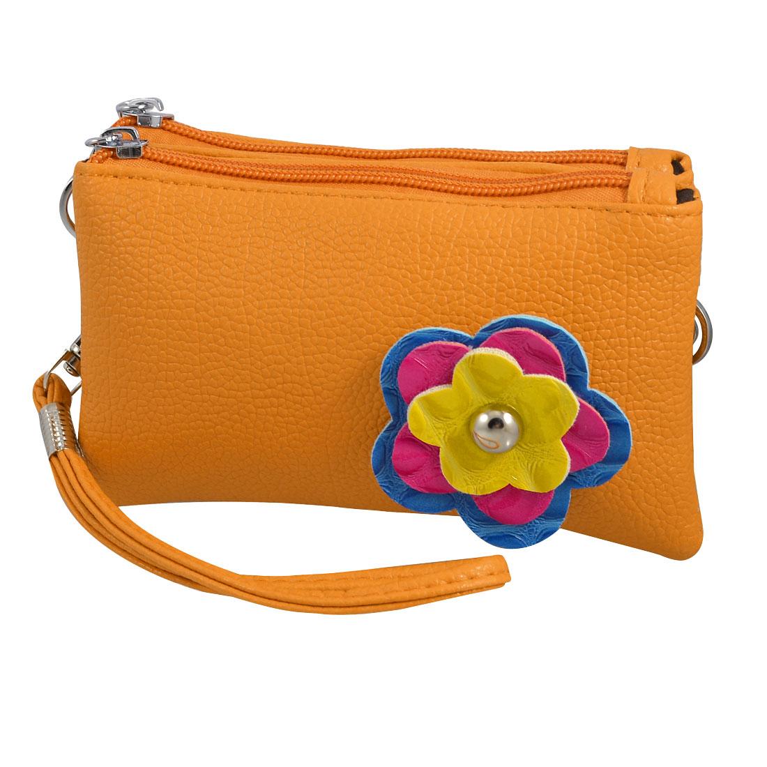 Woman 3D Tri Color Flower Accent Orange Textured Faux Leather Wrist Bag