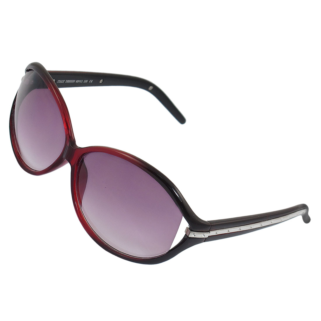 Women Burgundy Frame Oval Lens Silver Tone Metal Bar Decor Wide Temple Sunglasses