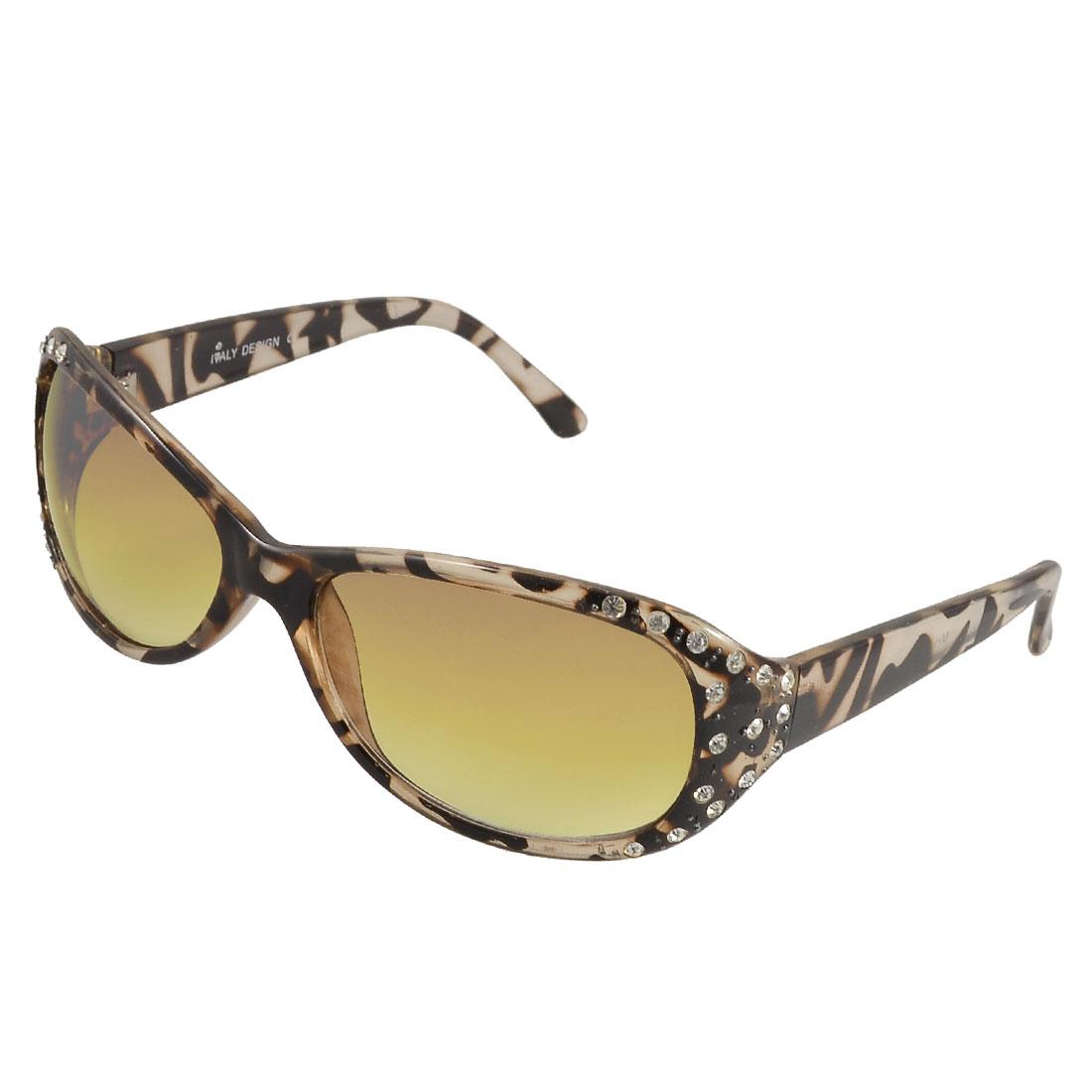 Women Faux Rhinestone Decor Clear Brown Leopard Pattern Yellow Lens Sunglasses