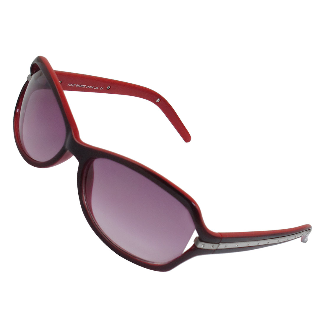 Women Two Tone Red Frame Colored Lens Silvery Metal Bar Inlaid Wide Temple Sunglasses