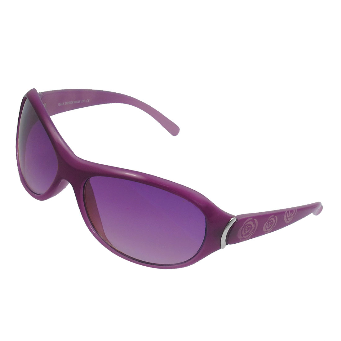 Ladies Full Rim Rose Pattern Plastic Arm Gradient Tinted Lens Sunglasses