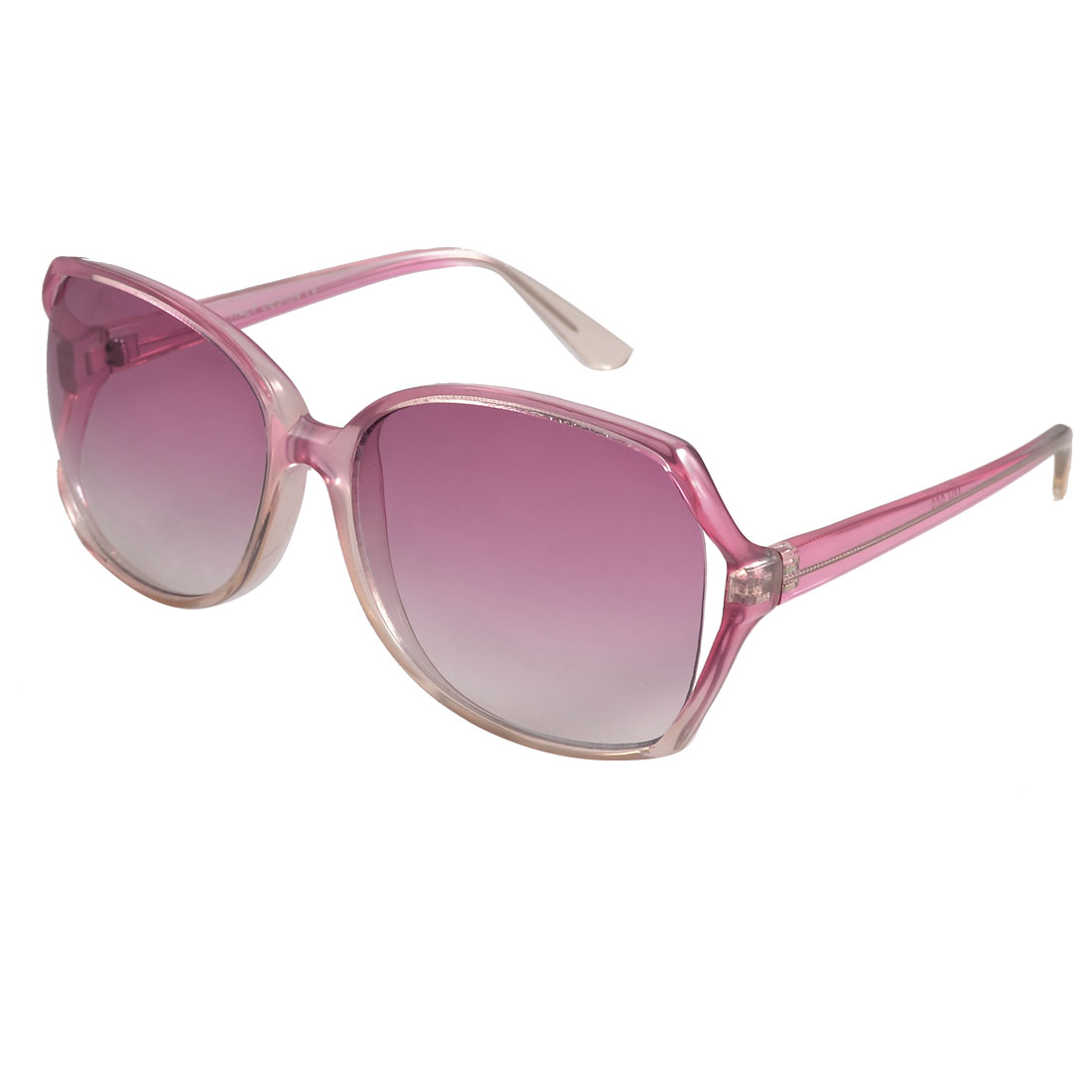Ladies Women Clear Magenta Plastic Frame Colored Lens Sunglasses