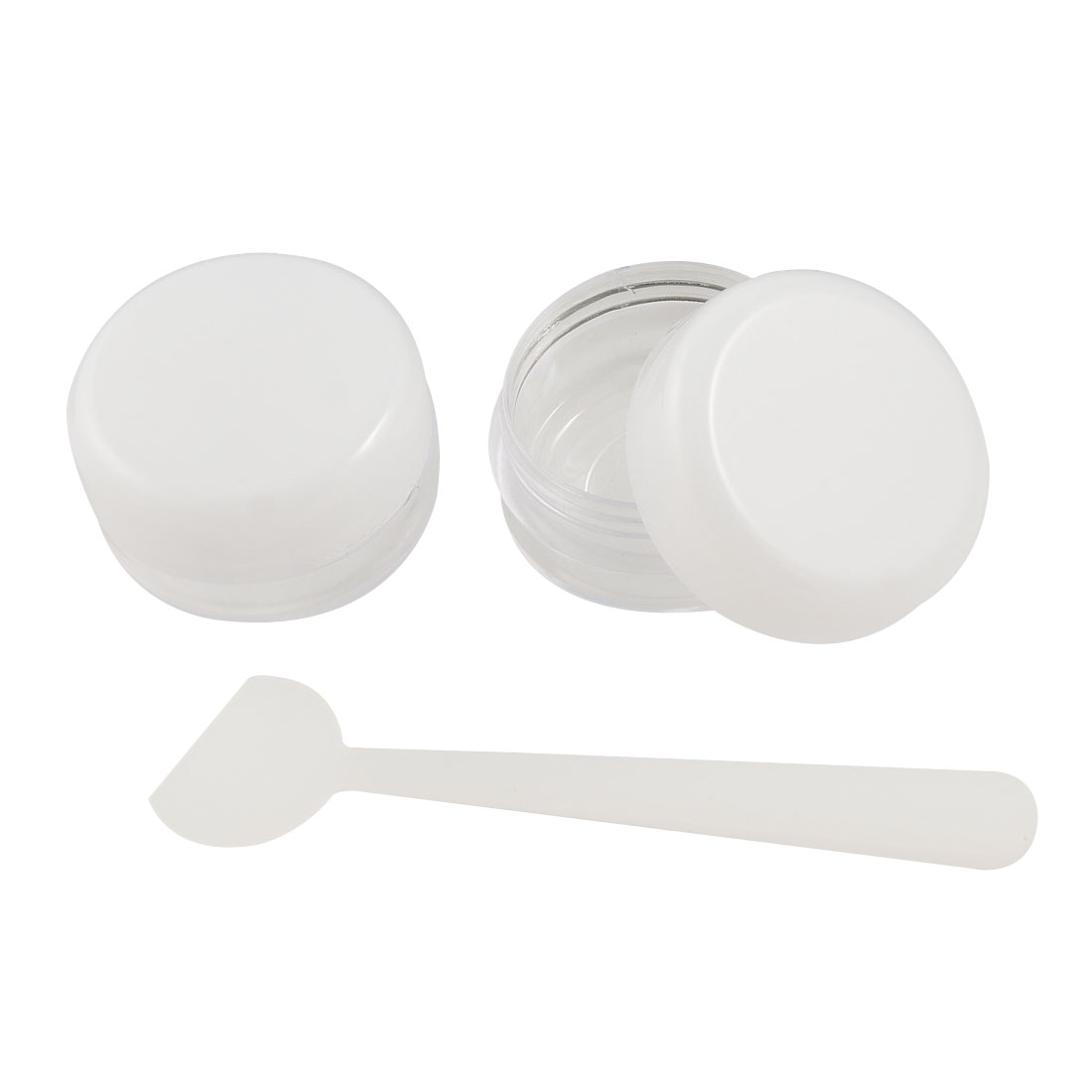 2 Pcs White Clear Cosmetic Round Plastic Case Container w Mixing Spoon