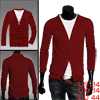Mens Red Long Sleeve Button Closure Simple Style Pure Color Cardigan S
