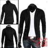 Mens Black Stylish Stand Collar Long Sleeve Single Breasted Casual Blazer M