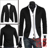 Mens Black Peaked Lapel Long Sleeve Stretchy Pockets Front Casual Blazer S