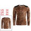 Men V Neck Long Sleeve Leopard Prints Shirt Beige Brown S