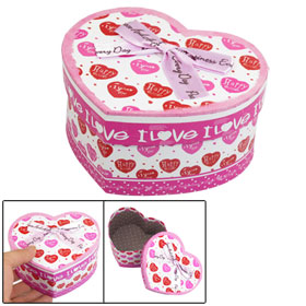 Pink Polyester Bowknot Decor Heart Shaped Cardboard Gift Case Box