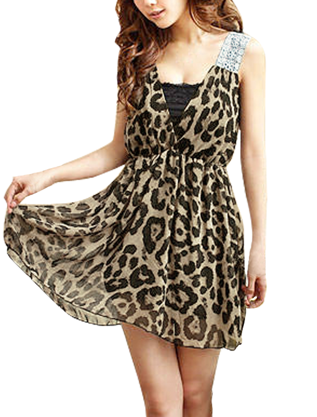 Woman Leopard Print Sleeveless Elastic Waist Dress Coffee Color S
