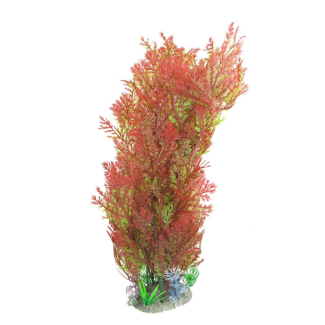 "Aquarium 14"" Height Red Green Plastic Plants Decor w Ceramic Base"