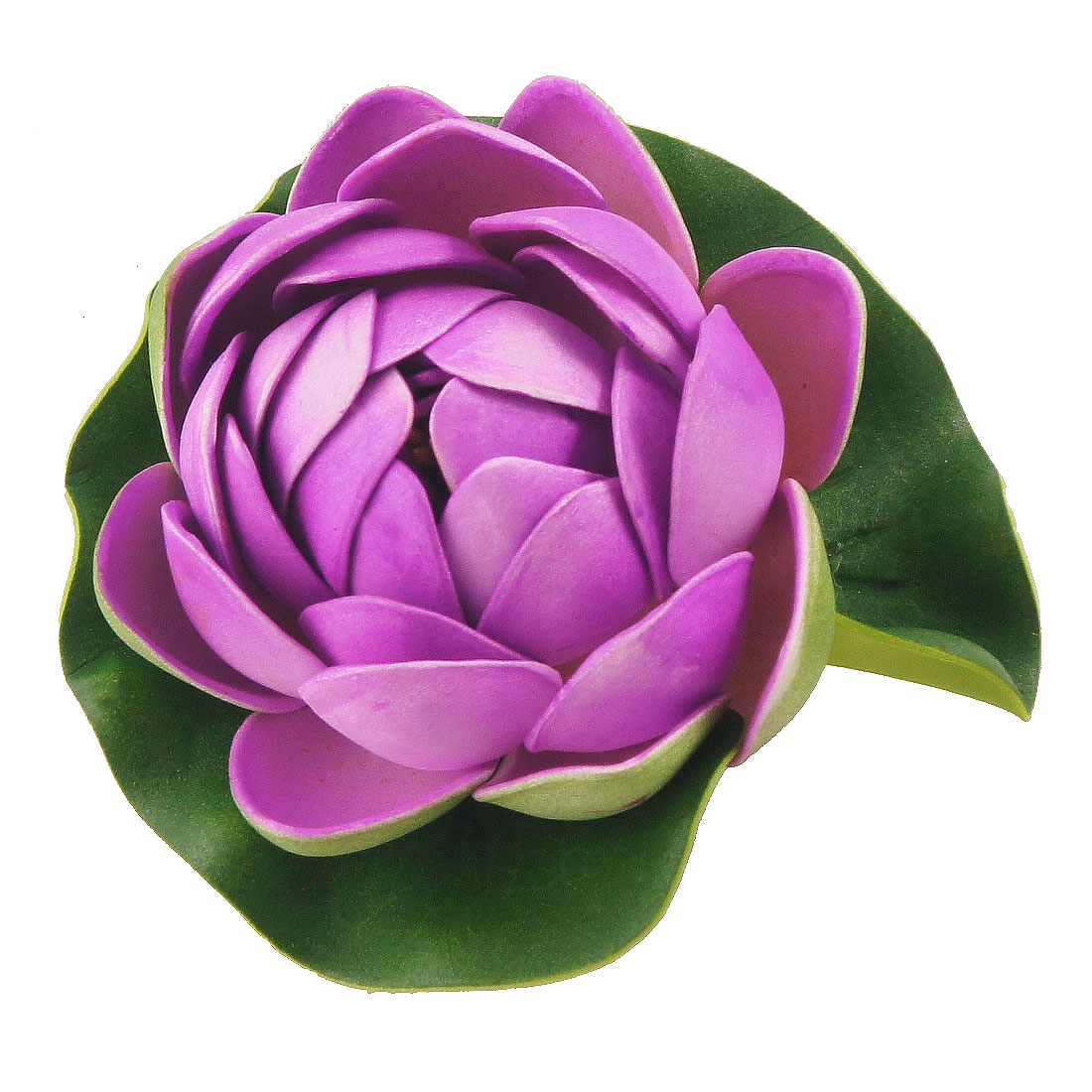 Aquarium Purple Foam Lotus Flower Decor Green Leaf Plant