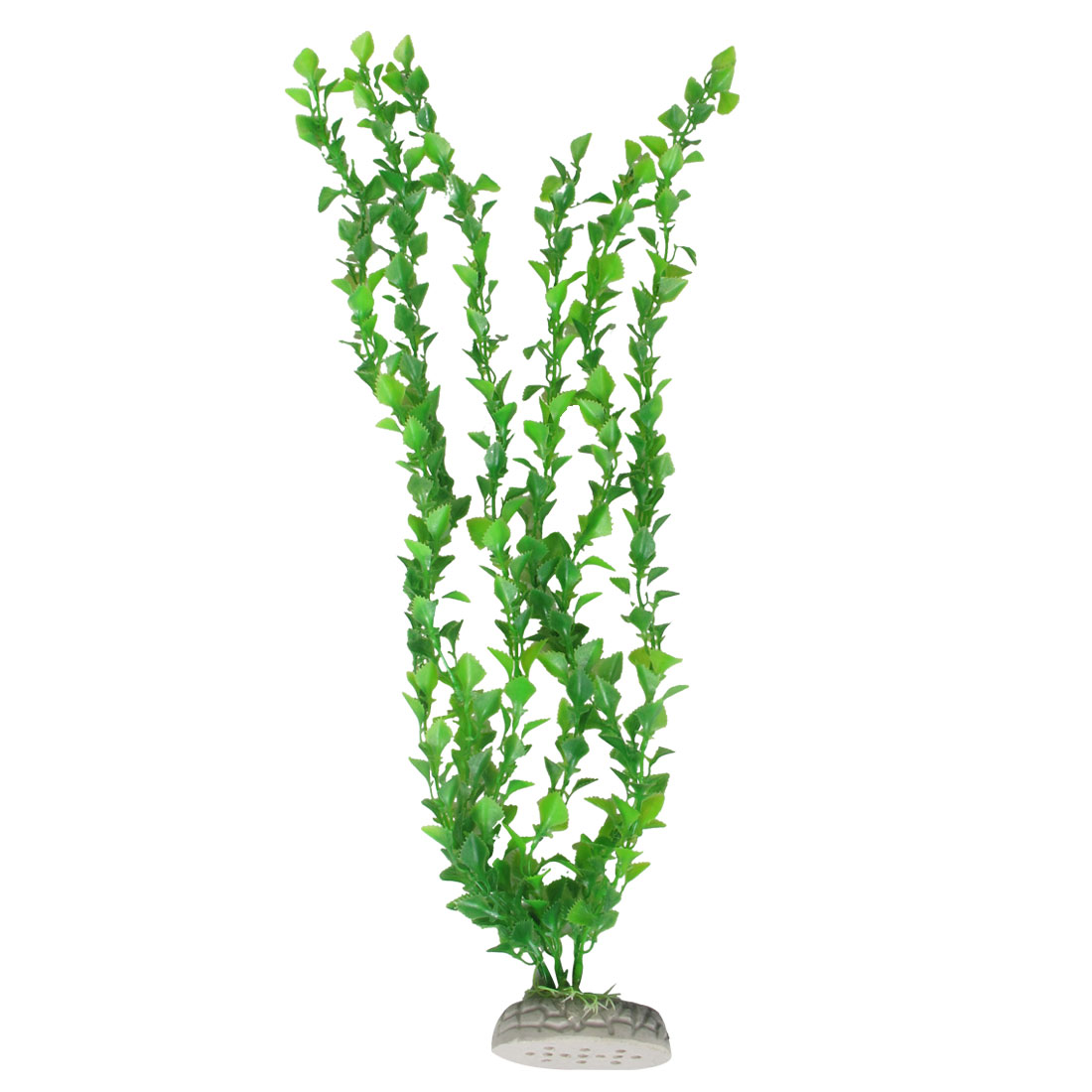 "Aquarium 22"" Height Green Plastic Plants Decor with Ceramic Base"