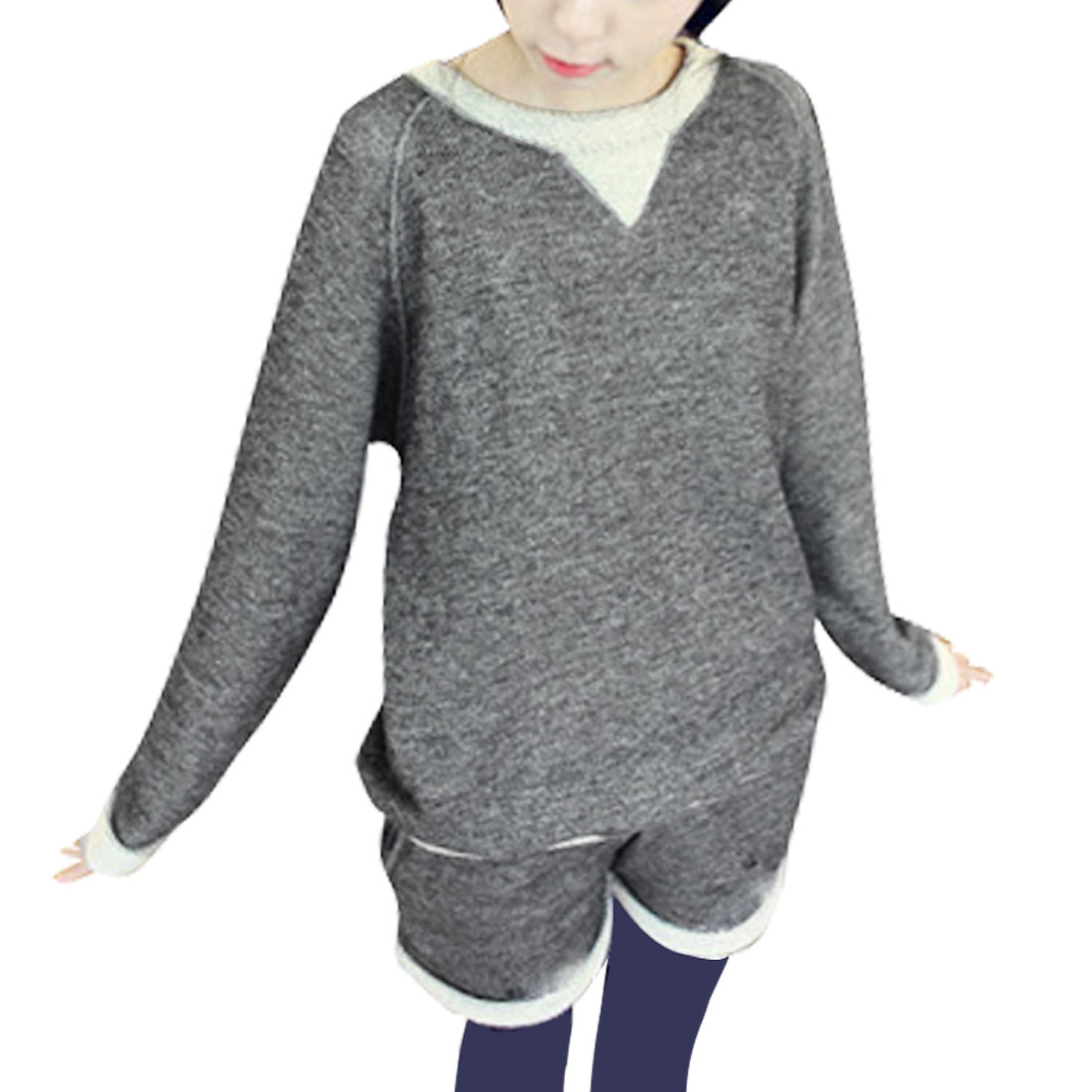 Ladies Dark Grey Long Sleeve Pullover Blouse w Low Rise Short Pants XS