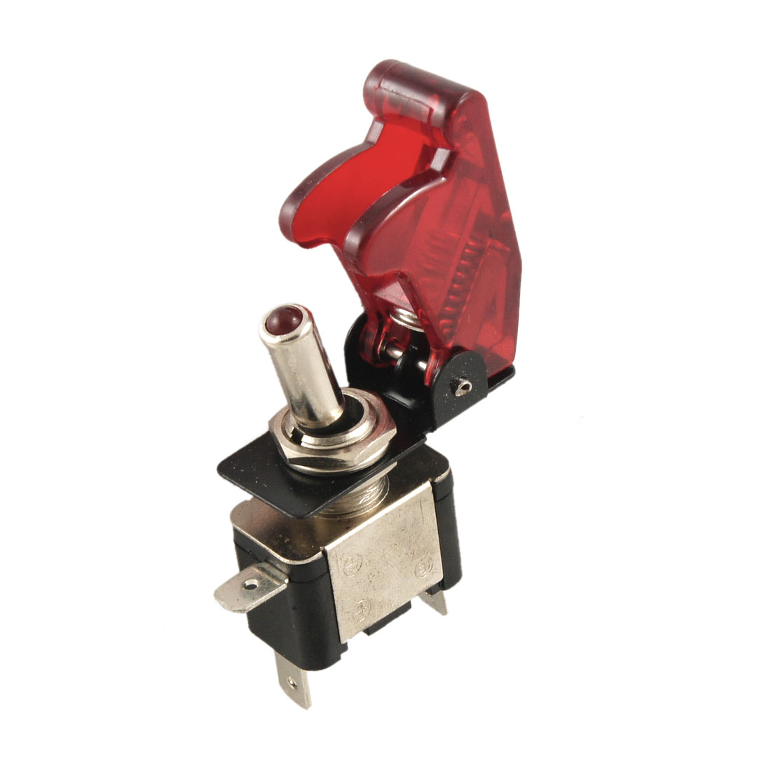 DC 12V On Off Racing Car Illuminated Toggle Switch + Red Cover