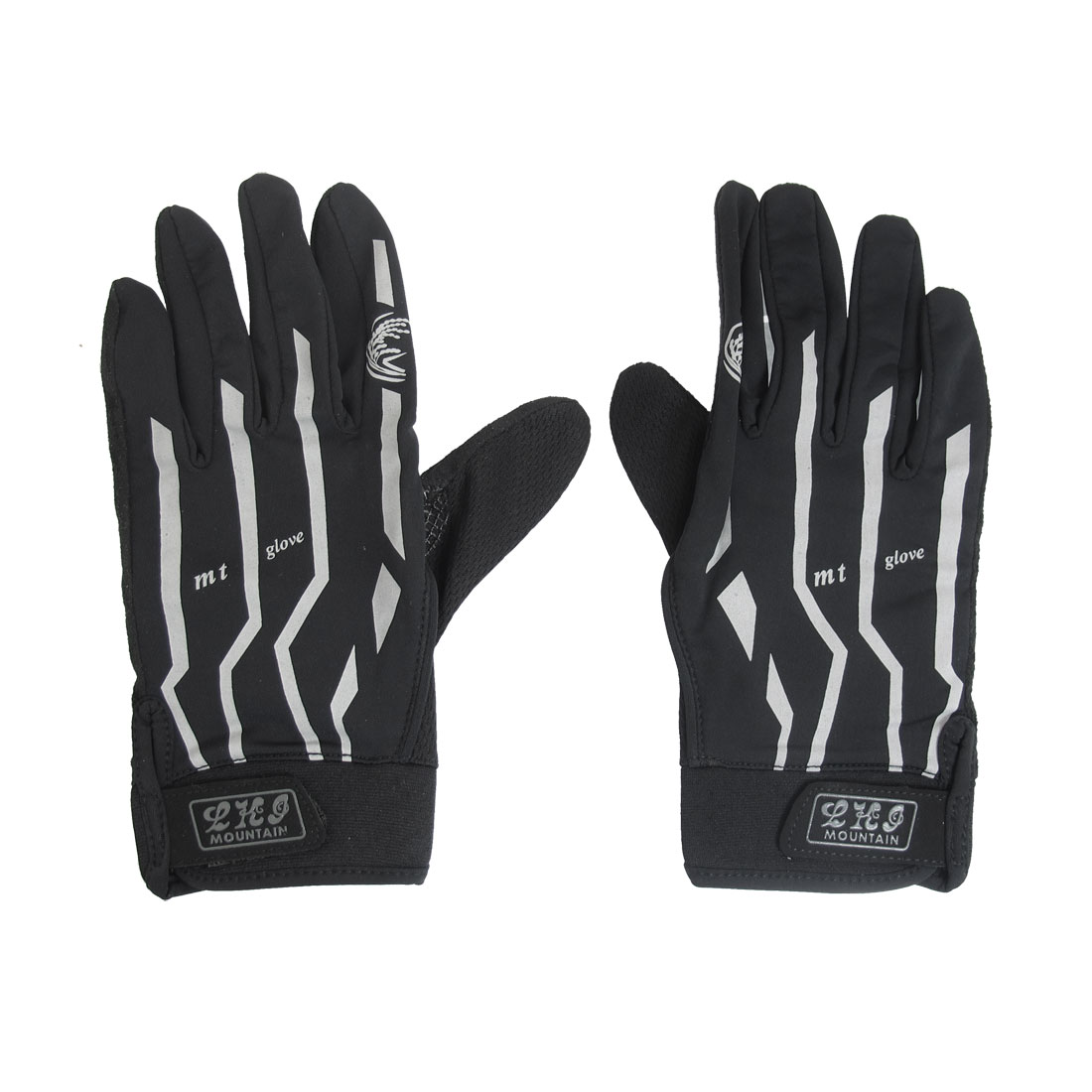 Black Antislip Palm Full Finger Outdoor Cycling Glove for Men