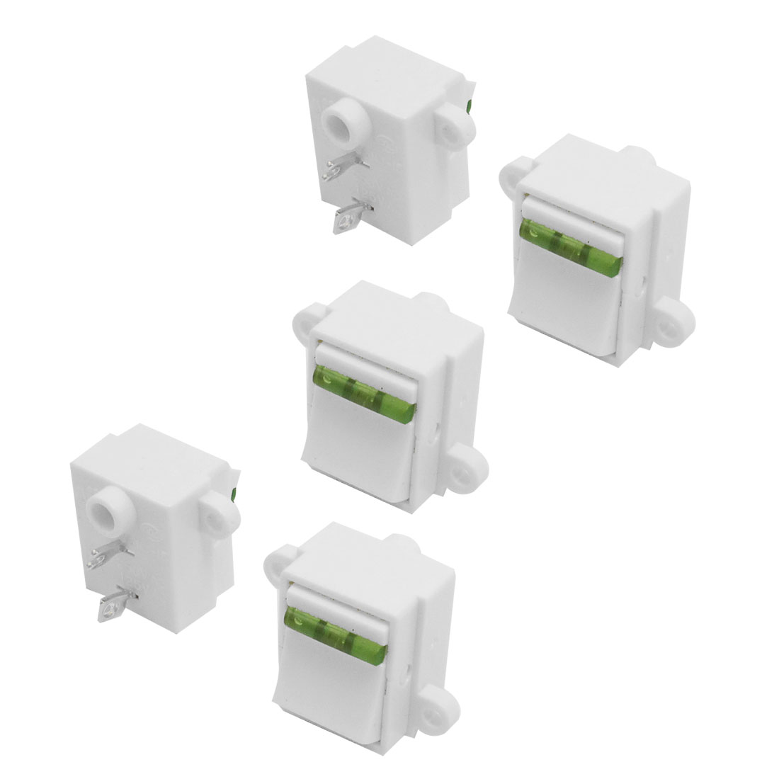 5 Pcs Green White 2 pole SPST On/Off Rocker Switch AC 125V/13A 250V/10A