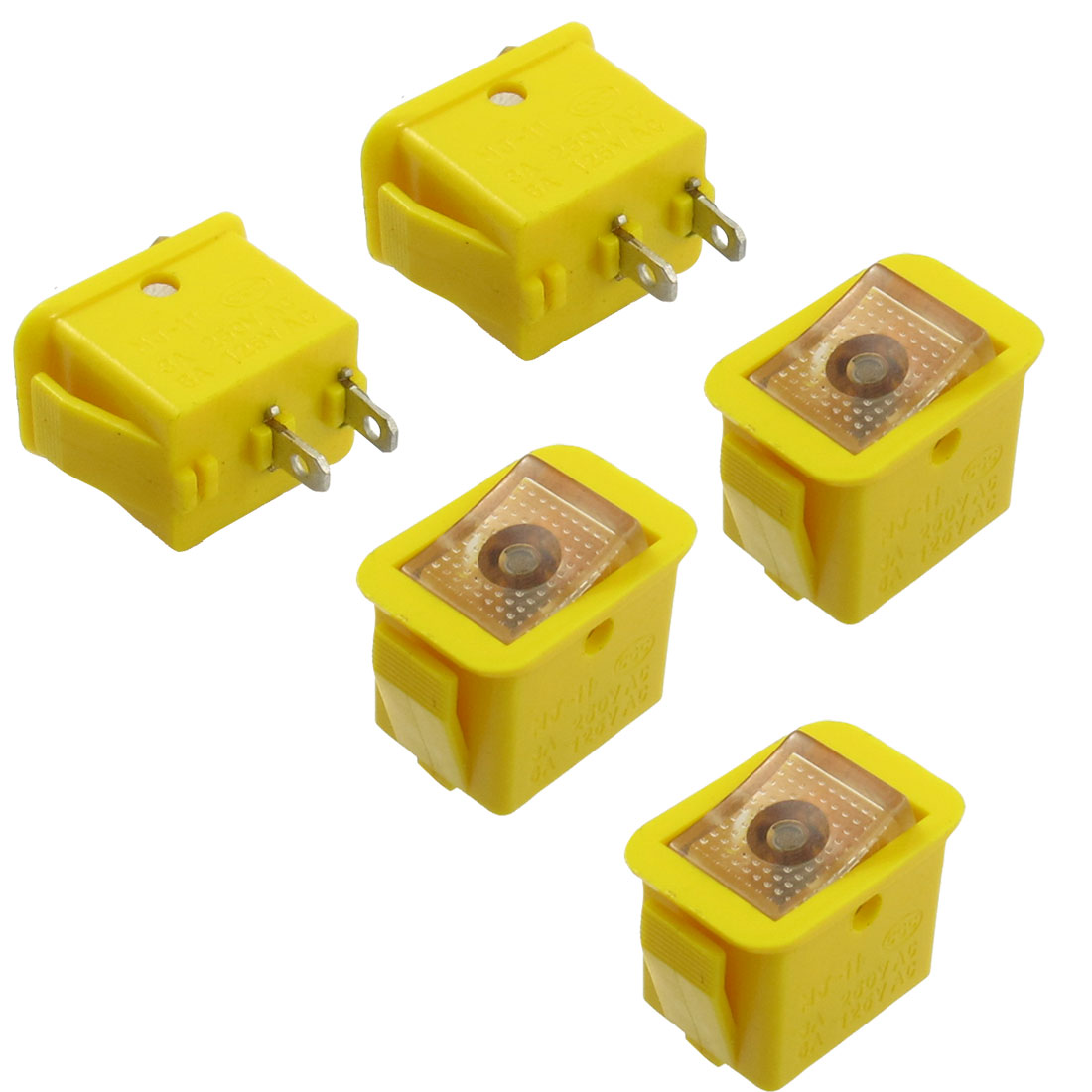 5 Pcs 2 Pin SPST On/Off Rocker Switch AC 3A/250V 6A/125V Yellow