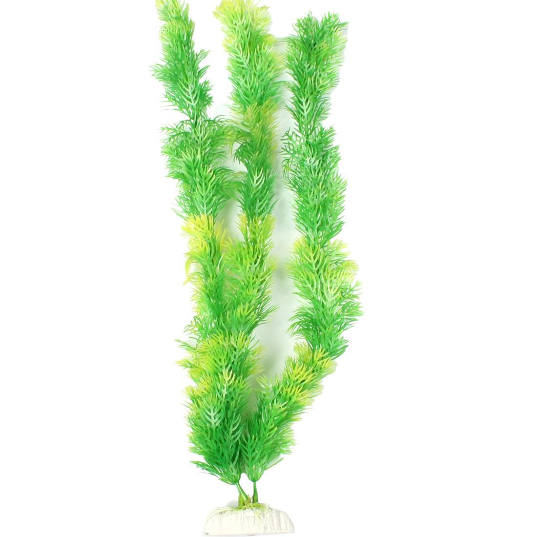 "Ceramic Base Artificial Plastic Fish Aquarium Plants Green 16"""