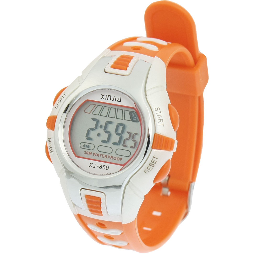 Orange White Plastic Adjustable Wristband Round Case Sports Watch for Children