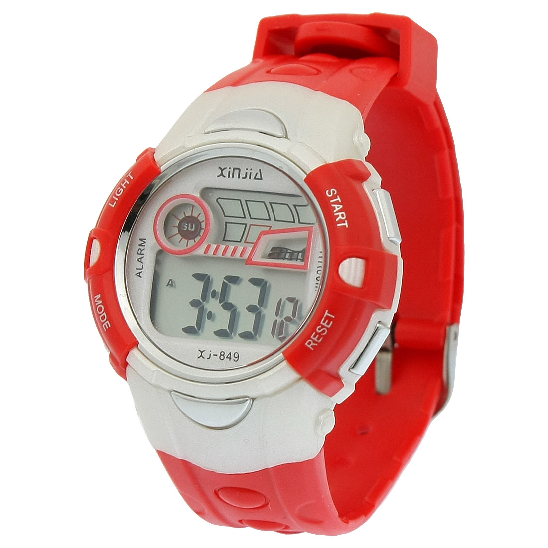 Red Plastic Adjustable Wristband Chronograph Sports Watch for Children