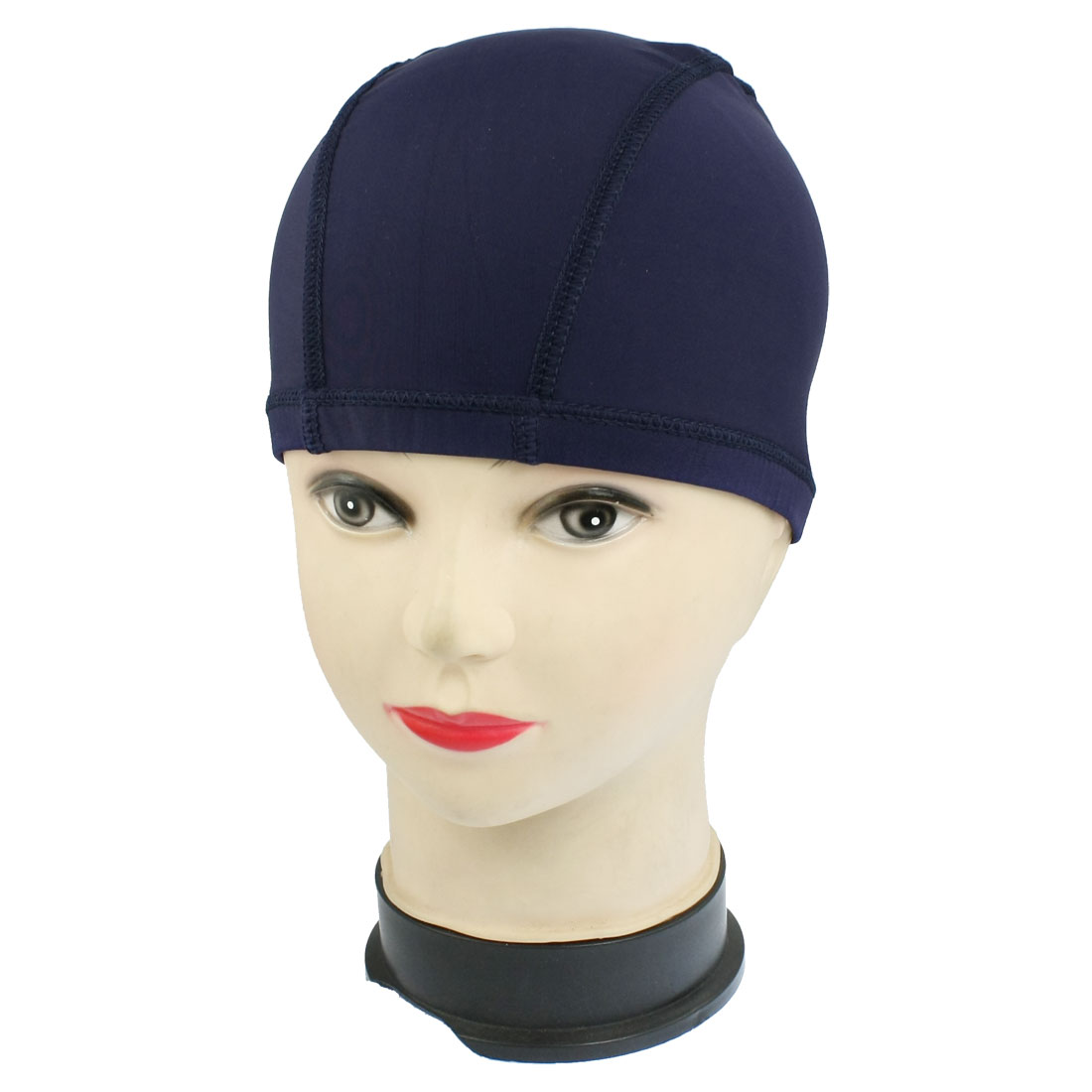 Adults Sport Polyester Elastic Fiber Elastic Dome Shape Swim Cap Dark Blue