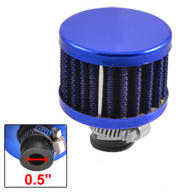 Car 11mm Inlet Rubber End Clamp on Round Air Intake Filter Blue