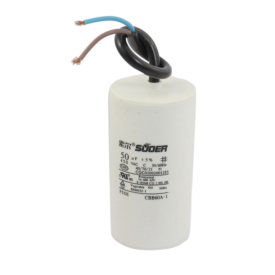 AC 450V 50/60Hz 50uF Polypropylene Film Motor Run Capacitor