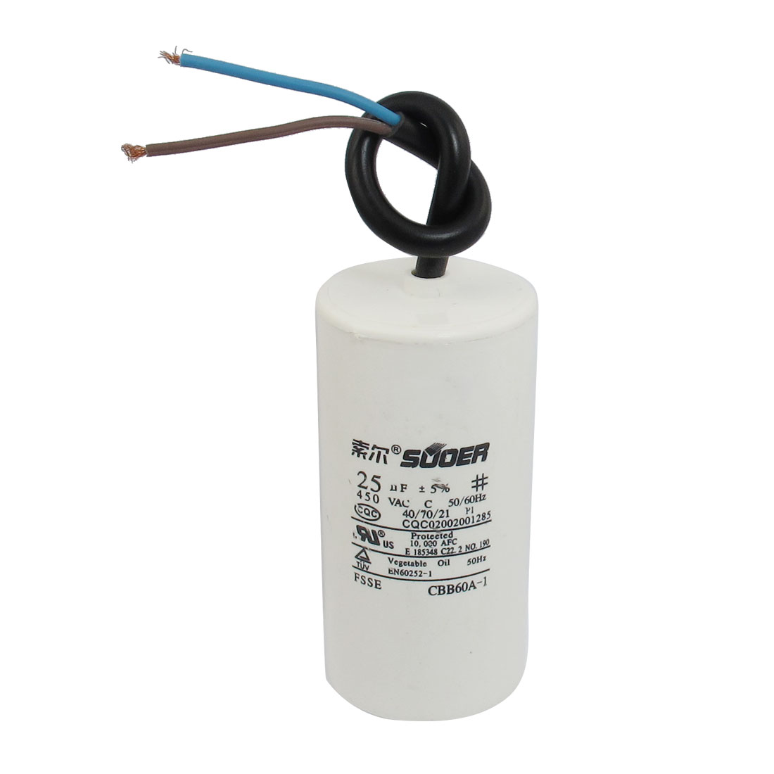 AC 450V 50/60Hz 25uF Polypropylene Film Motor Run Capacitor
