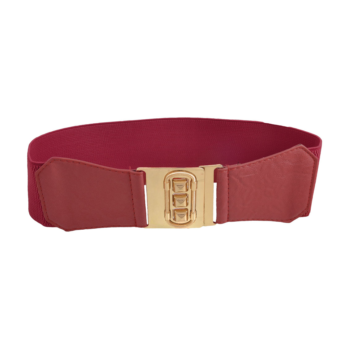 Gold Tone Metal Interlock Buckle Red Elasticated Corset Waistband Belt