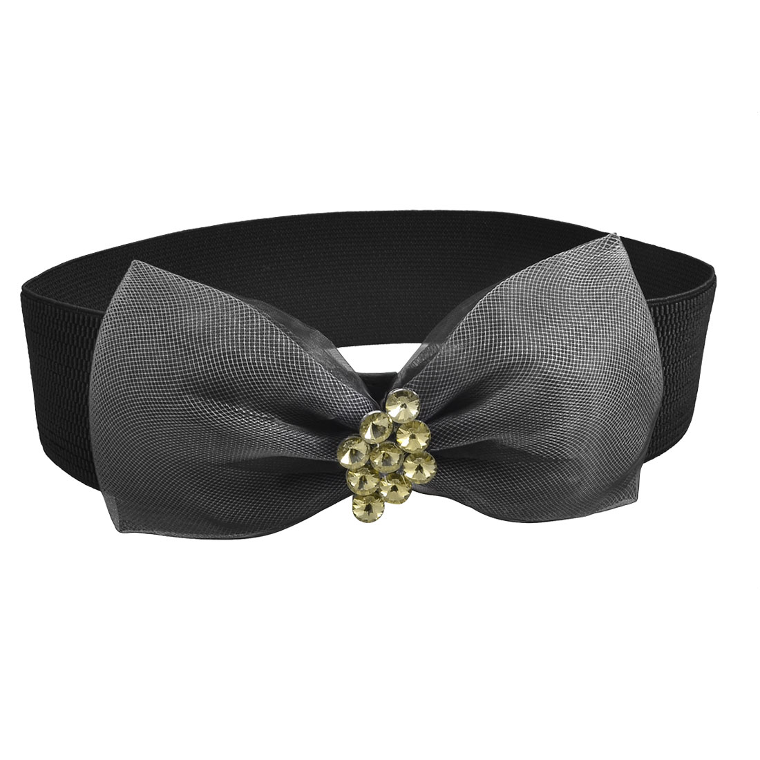 Lady Press Stud Button Rhinestone Bowknot Decorated Black Stretchy Cinch Belt